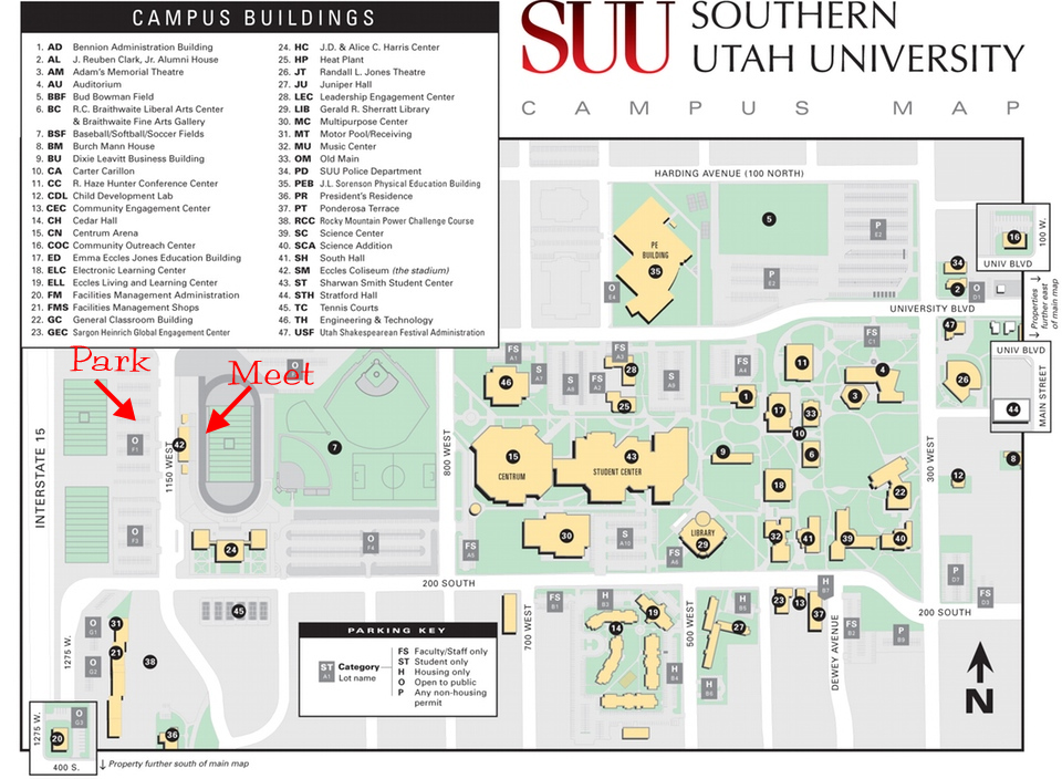 SUU Map—Track | Cedar City Running Club